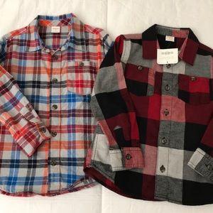 Gymboree boys flannel button up shirts size 5T